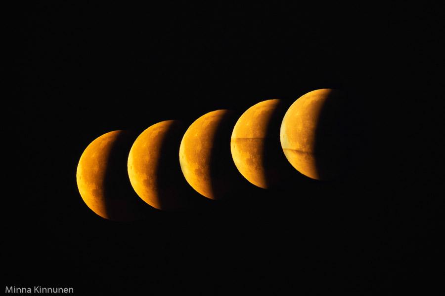 Bilder tagna med ca 70 sekunders mellanrum för att visa hur snabbt månen rör sig och hur den glider ut jordens skugga.